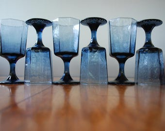 Six Vintage Libbey Water Glasses - Goblets - FACETS Pattern - Cobalt Blue - 1980s - Octagonal - Textured