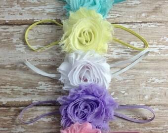 30% OFF SPRING SALE Set of 5 Flower Headbands, Pastels, Newborn Headband, Infant Headband, Baby Headband, Flower Girl, Baby Shower Gift Sets