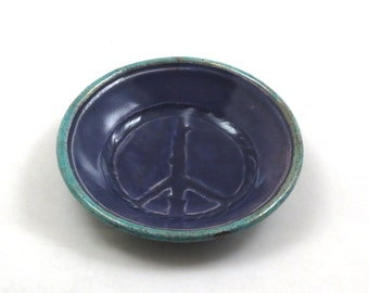 PEACE Offering Bowl Handmade Ceramic  Pottery Purple