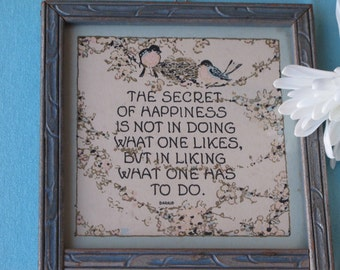 Sweet 30s Motto Print With Mirror Vintage c.1930s Secret of Happiness Birds and Nest With Flower Garlands