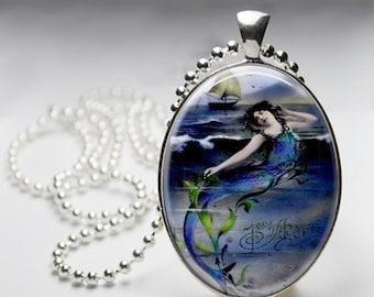 Mermaid Pendant - Siren of the Sea Pendant - Blue Lagoon Mermaid - Mermaid and Sailboat - Vintage Mermaid Illustration Necklace - Large Oval