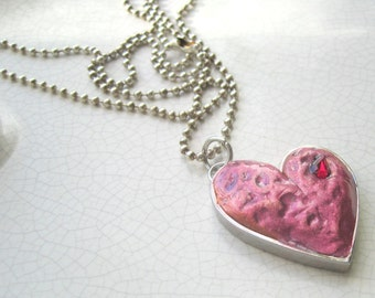 hand formed red clay heart pendant - silver ball chain, valentine, gift, red teardrop crystal
