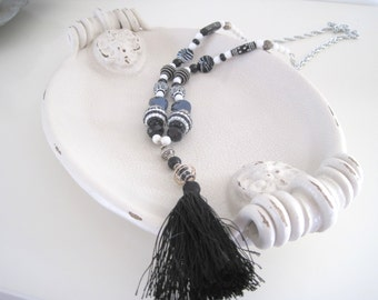 black white and silver tassel necklace - 34 inches long with 6 inch tassel