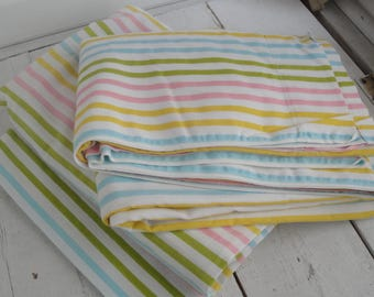 Vintage Twin Sheets Flat & Fitted Rainbow Stripes