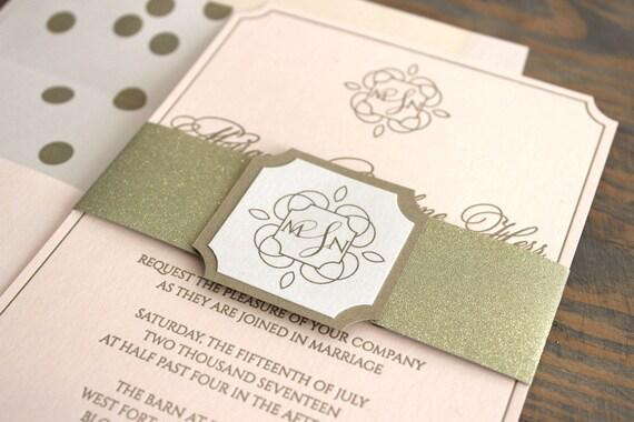 Letterpress Wedding Invitations, Gold Glitter Wedding Invitation, Gold and Blush Wedding Invitation, Polka Dot Wedding Invitation, Monogram