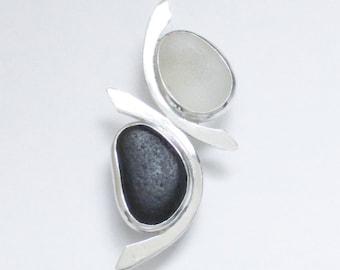 Sea Glass Jewelry - Sterling White and Rare Black English Sea Glass Pendant