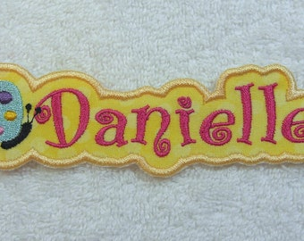 Name Patch with Butterfly Personalized Single Name Patch Fabric Embroidered Iron On Applique Patch MADE TO ORDER