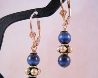 XMAS SALE Sterling Blue Cats Eye Beaded Earrings Pierced Leverback Vintage Jewelry Jewellery