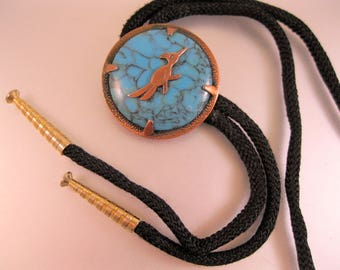 Bell Trading Co Roadrunner Copper & Faux Turquoise Bolo Tie Vintage 1960's