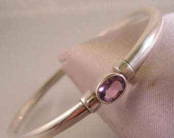 SALE ON Ends 4/30 Genuine Amethyst Sterling Silver Bangle Bracelet Signed SU Vintage Jewelry Jewellery