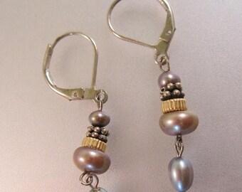 SALE ON Ends 4/30 Black Blue Gray Pearl Drop Dangle Earrings Sterling Silver Vintage Jewelry Jewellery