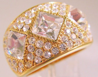 Designer PJM Crystal Cigar Band Ring Size 9 Vintage Jewelry Jewellery