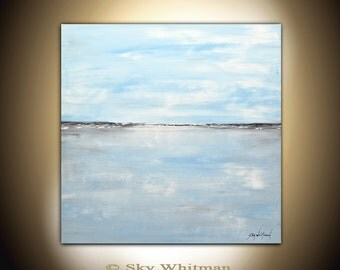 Painting Original Large Landscape Modern Art Blue Contemporary Oil Painting Abstract Art 36x36 Seascape Oil Painting by Sky Whitman