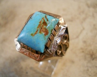Vintage Sterling Silver Gold Plate Turquoise Ring Size 10 1/2