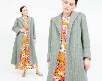 Vintage 80s Sweater Coat - Speckled Wool Knit Long Duster Coat - Mod Full Length Jacket - Blue Tan SMALL XS S
