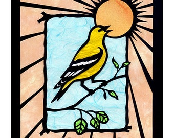 Goldfinch Bird ART PRINT Nature Wall Art Giclee Print Papercutting