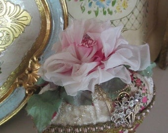 Ivory Velvet Easter Egg Centerpiece, Vintage Jewels, Organza Rose, French Ribbon, Flower Basket Brooch