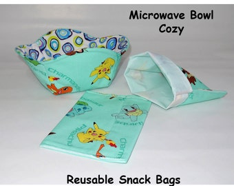 Pokemon Reusable snack bags and microwave cozy