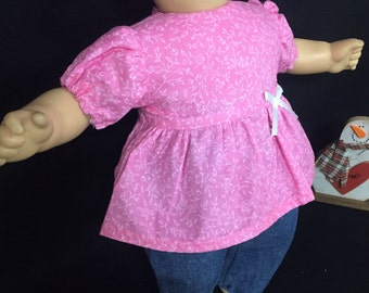15 Inch Doll Clothes Pink Calico Doll Outfit Pink Calico Doll Shirt Doll Jeans Doll Pants Doll Headband Fits Like Bitty Baby or Bitty Twins