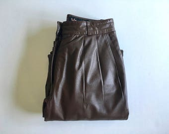 Vintage Women's 80's Leather Pants, High Waisted, Brown, Tapered Leg by Vanelli (XS)