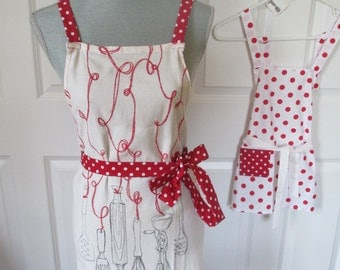 Mom and Me Aprons With Kitchen Utensils and Polka Dots