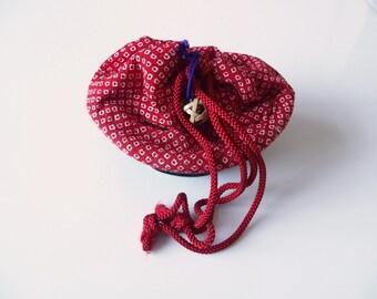 Japanese Kinchaku Yukata Kimono Bag Red  With Cream Shibori Pattern