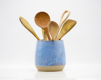 utensil holder, farmhouse pottery, holiday gift, blue pottery, ready to ship, housewarming gift, wedding gift
