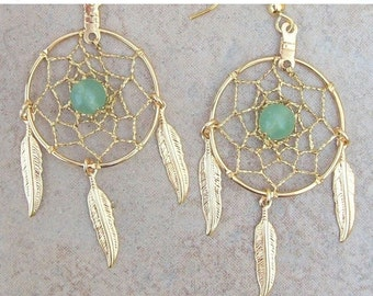 ON SALE DREAMIN in Gold and Green Aventurine Large Dream catcher earrings, dreamcatcher earrings, dangly dream catcher earrings Aventurine