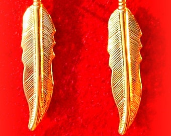 GOLD FEATHER EARRINGS - Larger size, Tribal, Boho, dangly feather earrings in gold or silver