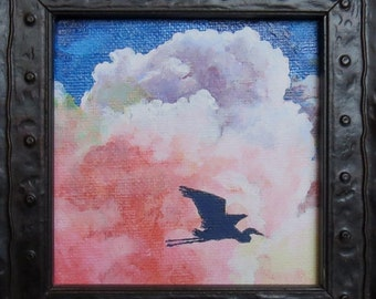 Miniature acrylic Flying Heron in heavy carved frame