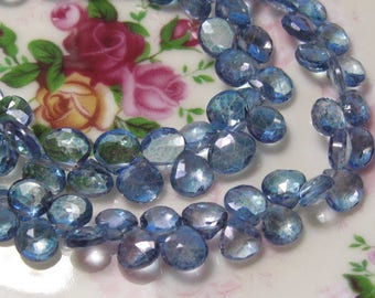12 Beads Set - Beautiful Top Quality Mystic Blue TOPAZ  Faceted Heart Briolettes