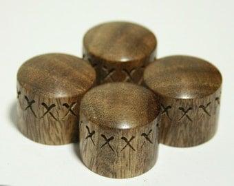 Set of 4 Carved Rosewood Guitar Knobs (3/4d x 11/16h)