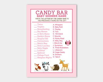 Woodland Girl Forest Candy Bar Matching Baby Shower Game | Girl Shower Game Printable PDF INSTANT DOWNLOAD bs-005