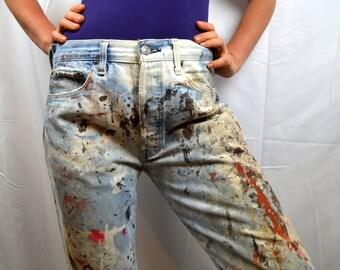 Vintage LEVIS Big E Distressed Bleach Paint Splatter Red Line 1950s 60s Original Vtg Denim Jeans