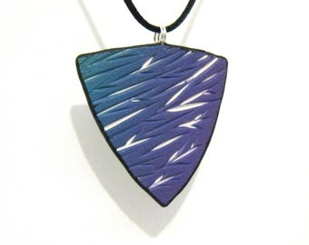 Teal Purple Carved Shield Pendant with White Underlay - Triangle Shape - Black Satin Cord Necklace - Polymer Clay - One of a Kind