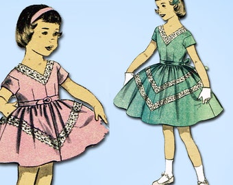 1950s Vintage Advance Sewing Pattern 7939 Uncut Little Girls Dress Size 12 30 B