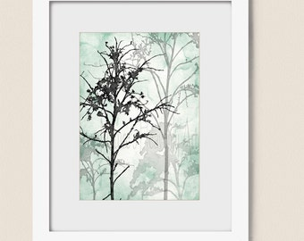 5 x 7 Print, Sea Foam Green Tree Wall Art Print, Mint Green Wall Decor For Bedroom, Bathroom Print, Black Art Print, Tree Art  (248)
