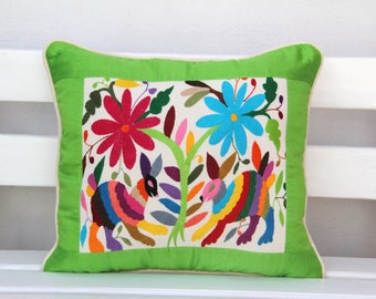 Lime and multi colored Summer Silk and Otomi Pillow Sham with artisan woven textiles