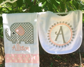 Personalized Baby Burp Cloth Bib Baby Elephant New Baby Shower Gift Monogrammed