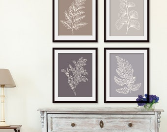 Fields of Forest (Series 4B) Set of 4- Art Prints (Featured in Neutral Browns and Greys) Botanical Plant Sketch Art Print
