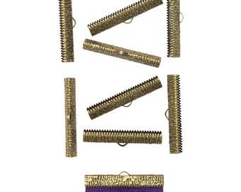 50pcs.  38mm ( 1 1/2 inch ) Antique Bronze Ribbon Clamp End Crimps - Artisan Series