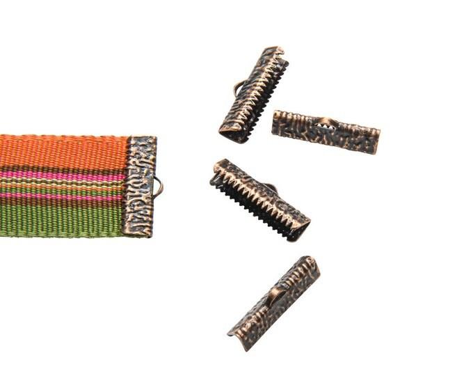 16 pcs.  22mm (7/8 inch)  Antique Copper Ribbon Clamp End Crimps - Artisan Series