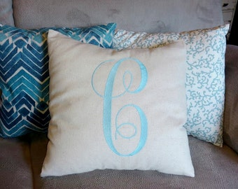 Set of 3 with Custom Embroidery INITIAL MONOGRAM PILLOW and 2 coordinating pillow covers 16""