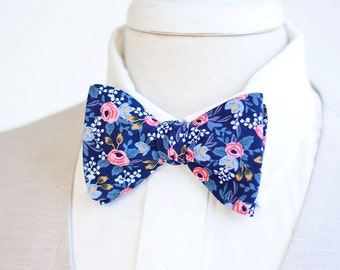 Bow Ties, Bow Tie, Bowties, Mens Bow Ties, Freestyle Bow Ties, Self-Tie Bow Ties, Groomsmen Bowties, Ties, Rifle Paper Co - Rosa In Navy