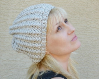 Slouchy hat oatmeal knit hat gift for her womens slouch hat beret slouchy beanie Christmas winter holidays gift for friend gift under 30