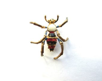 Spider Pin Cold Paint Ename Brooch Vintage Insect Art Deco Brass Czech
