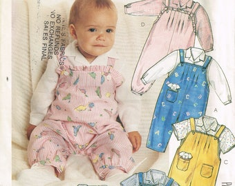 80s Infant Overalls Pattern McCalls 3341 Small Medium or Large Overalls Pants or Shorts Shirt Toy Uncut Vintage 1987 Sewing Pattern