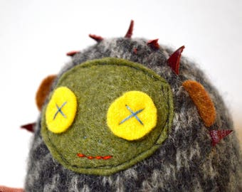 Mini Dolores the Librarian plush doll in repurposed grey wool