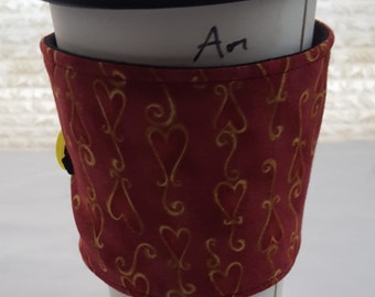 Reusable Coffee Cozie Sleeve Maroon with Gold hearts