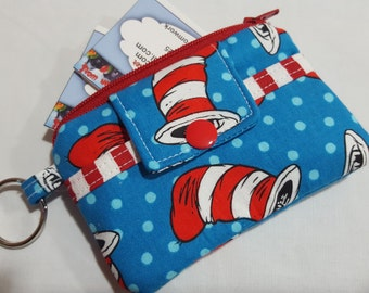 Zipper Wallet Pouch Key Chain Card holder - Dr Seuss The Cat in The Hat - Tossed Hats